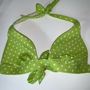 Victoria Secret green bikini top with white dots